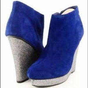Dolce Vita blue suede & sparkly Roja bootie wedge